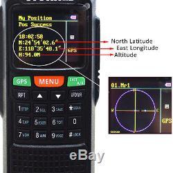 10W VHF/UHF GPS Walkie Talkie Ham Two Way Radio For Hunting + Telescopic Antenna