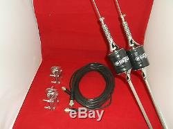 2 Vintage Hustler Scb-s Black Cb, Ham Antennas, Dual Coax, Brackets And Studs