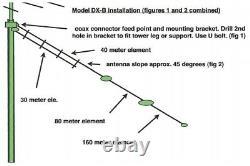 Alpha Delta DX-B Single Wire 1/4 Wave Sloper Antenna for 160, 80, 40, 30 meters