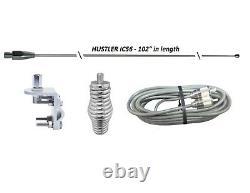 HUSTLER 102 WHIP CB HAM Antenna, 18ft BELDEN RG8X COAX, SPRING & MOUNT