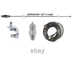 HUSTLER 102 WHIP CB Ham Antenna Stainless, 18ft DS RG58 COAX, SPRING, MOUNT