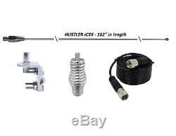 HUSTLER 102 WHIP CB Ham Antenna Stainless Steel, 18 ft COAX, SPRING & MOUNT