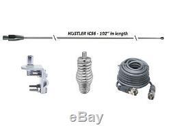 HUSTLER 102 WHIP CB Ham Antenna Stainless Steel, 18ft RG8X COAX, SPRING & MOUNT