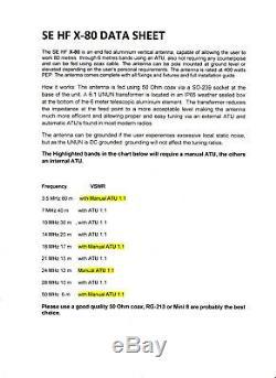 Ham Radio ANTENNA SE HF-X80 VERTICAL RADIAL FREE ANTENNA 80 TO 6 METRES