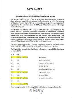 Ham Radio Antenna SE HF-360 FIBRE GLASS VERTICAL RADIAL FREE 80 TO 6 METERS