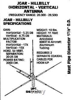 JoGunn Hillbilly 10 meter Base Antenna Horizontal and Vertical