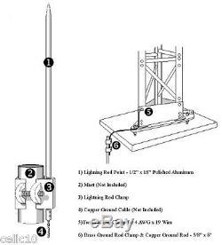 LR-8400 Lightning Rod Kit for Glen Martin Hazers, Roof Top Towers, Martin Towers