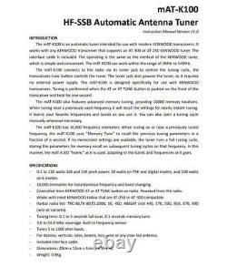 MAT-K100 HF-SSB Automatic Antenna Tuner Auto Tuner Ham Radio 120W For Kenwood