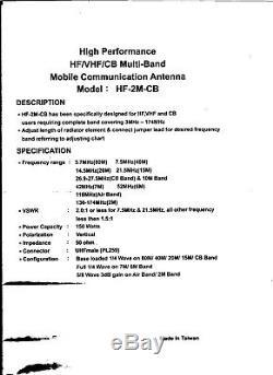 SET ALL BAND HQ Ham Radio Mobile Antenna HF +VHF high performanc HF-2m Good Tx