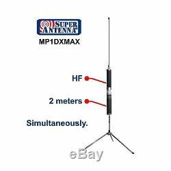 Super Antenna MP1DXMAX Dual HF Plus 2 Meter Bands SuperWhip Tripod All Band