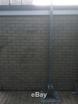 Tilting, Telescopic Galvanised Steel Ground Mount Antenna Mast. Cctv And Lights